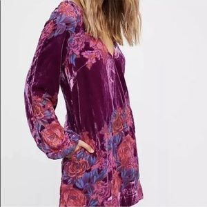 NWT Free People floral burnout velvet dress tunic